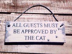 Katze-Zeichen. Rustikale Zeichen. Alle Gäste von InspirationToArt