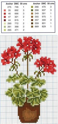 Flowers geraniums cross stitch.