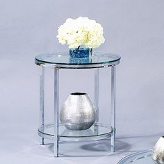 Bassett Mirror Patinoire Round End Table in Chrome