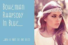 Bohemian Art Deco and Rhapsody in blue wedding inspiration board...