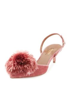 Powder+Puff+Pompom+Pump,+Antique+Rose+by+Aquazzura+at+Neiman+Marcus.