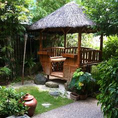 Our nipa hut in the garden. Love chillin' in there