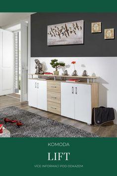 Komoda Lift v dubovém dekoru společně s bílou barvu. Inspirace pro obývací pokoj, ložnici nebo dětský pokoj. Cabinet, Storage, Furniture, Design, Home Decor, Clothes Stand, Purse Storage, Decoration Home, Room Decor