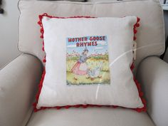 Vintage 1939 Cloth Book Page Mother Goose Rhymes Pillow. $40.00, via Etsy.