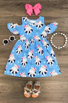 Happy Hippo Off The Shoulder Dress