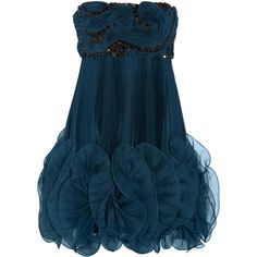 Marchesa Pleated silk-organza dress (23 345 ZAR) ❤ liked on Polyvore featuring dresses, vestidos, short dresses, vestiti, short strapless dresses, strapless cocktail dresses, blue dress and blue mini dress
