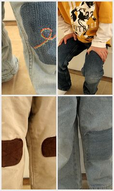 The Cute Way to Patch Pants {Mending} Kids are so busy that holes are a unfortunately common occurrence. This tutorial shows how to patch those pesky holes with… Sewing Hacks, Sewing Tutorials, Sewing Crafts, Sewing Projects, Sewing Tips, Fabric Crafts, Sewing Ideas, Diy Crafts, Patch Pants