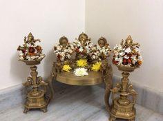 My puja room Housewarming Decorations, Diwali Decorations, Festival Decorations, Antique Interior, Antique Decor, Indian Home Decor, Indian Decoration, Pooja Room Design, Copper Decor