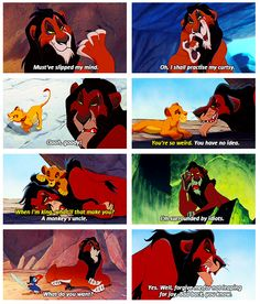 why scar was my favourite character in the lion king. except when he kills mufasa.