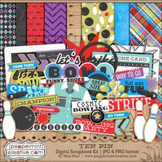Ten Pin Bowling Themed Digital Scrapbook Kit #bowl #digiscrap