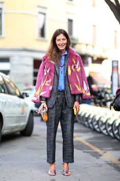 The European Guide To Flawless Style #refinery29  http://www.refinery29.com/milan-fashion-week#slide-25  A cropped, colorful chubby is a great way to dress up a boxy, nubby suit....