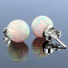 Stud Earrings with Opal