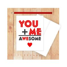 Valentine Card Romantic Card Heart Card You Plus Me by CallMeArtsy