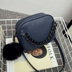 Designer Handbags For Women Plush Ball Chain Leather Shoulder Bag