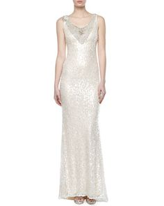 V-Neck+Sequined+Lace+Gown+by+Badgley+Mischka+at+Neiman+Marcus.