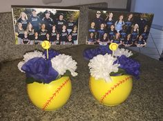 made these from dollar store items, yellow spray paint, and a red paint pen. Softball Coach Gifts, Softball Room, Senior Softball, Softball Crafts, Softball Players, Girls Softball, Softball Stuff, Softball Things, Softball Catcher