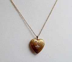 Vintage 14K Gold Filled Locket Heart GF Chain Delicate Lockets, Baby Items, Delicate, Pendant Necklace, Chain, Heart, Gold, Ebay, Shopping