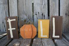Fall Autumn Pumpkin Wood Block Set    F pumpkin A by jodyaleavitt, $19.95