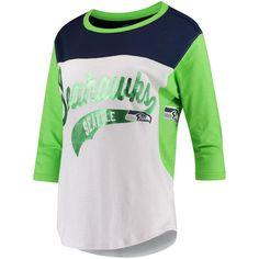 0faaa6a85 Seattle Seahawks Hands High Women s Season Pass 3 4-Sleeve T-Shirt - White Neon  Green