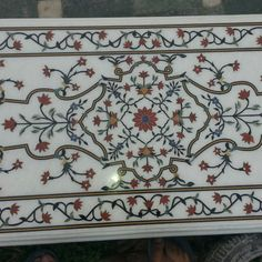 Surrealz genuine Marble pietra dura table inlaid with semi precious stones - lapis lazuli, turquoise, carnelian, malachite