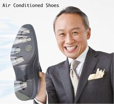 Air Conditioned Shoes by Hydro-Tech – for those hot and humid days in the office Technology Gadgets, Tech Gadgets, Cool Gadgets, Wearable Technology, Inventions Folles, Useless Inventions, Crazy Inventions, Amazing Inventions, Air Conditioning Companies