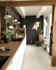Best kitchen tiles black and white butcher blocks Ideas Black Kitchen Black Blocks Butcher Ideas Kitchen tiles White Kitchen Interior, Black Kitchens, Interior, Kitchen Decor, Home Decor, House Interior, Black Walls, Home Kitchens, Kitchen Design