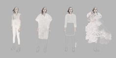 Fashion illustrations presenting new textiles, designed by London based textile designer Stephanie Rolph.