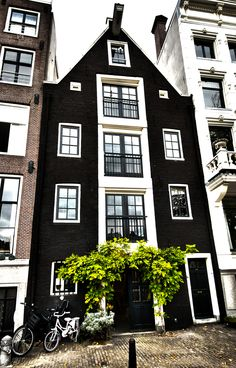 Amsterdam. black and white townhouse