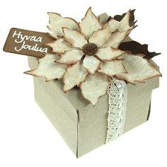 Leikkaa Big Shot -kuvioleikkurin ja stanssien avulla upeita joulutähtiä. Voit koristella niillä kortteja, rasioita, lahjapusseja ja -kasseja!