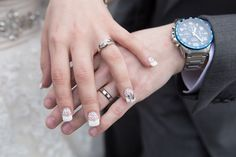 Check out the brides wedding finger nail...... Great idea!