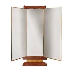 French Art Deco Lacquered Three Panel Floor  Mirror  Miroir Brot