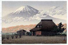 Mount Fuji from Narusawa (brown) by Kawase Hasui, 1936 (published by Watanabe Shozaburo)