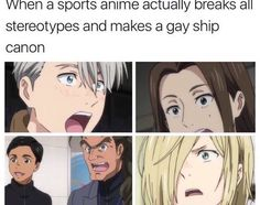 YOU GUYS DON'T UNDERSTAND THE TWO MAIN CHARACTERS JUST WENT CANON A GAY COUPLE JUST WENT CANON IN A MAINSTREAM SPORTS ANIME THIS IS NOT A YAOI ANIME THIS IS MAINSTREAM AND THIS IS SUCH A HUGE STEP FOR JAPAN AND LGBT+ REPRESENTATION OH MY GODS THIS ANIME IS SO IMPORTANT