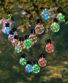 Hang lights in your yard without the nuisance of wiring with this Solar String Light Set. This Solar String Light Set creates a festive ambiance all year long. Each durable bulb holds up during adverse weather and while stored away.