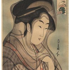 """Beauty with a Veil"" by Eisho (active circa 1790 - 1799); Japanese woodblock print This lovely #portrait of a #beauty is a reprint of a #design by the #Edo era artist Eisho, who was best known for his images of beautiful #women or bjin-ga. For more information on this print, or to purchase it, visit our website by clicking on the link in our bio and then search for ""Eisho"". #japan #art #japaneseart #beautiful #woodblockprint #japanesewoodblockprint #eisho #veil #bjinga #stunning #gorgeous…"