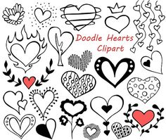 BIG SET of Doodle Hearts Clipart Heart clip art Digital