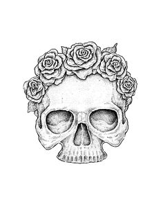 Rose Drawing Use Ink Liners to Create a Skull and Roses Drawing Flower Sketches, Drawing Sketches, Drawing Drawing, Drawing Ideas, Skeleton Head Drawing, Skull And Rose Drawing, Simple Skull Drawing, Flower Crown Drawing, Flower Outline