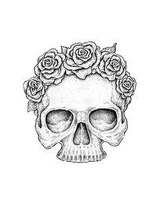 skull flower sketch - Google Search