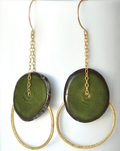Green Tagua Nut Gold Circle Earrings