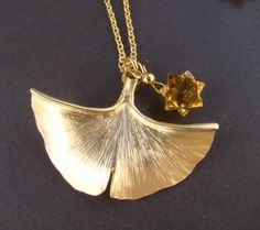 Ginkgo leaf and citrine star necklace ginkgo by 7PMboutique, $63.99