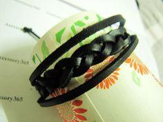 Black Soft Leather Woven Men or Women Cuff  by braceletcool, $3.50
