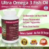 Ultra Omega 3 Fish Oil Pills - Essential Fatty Acids - High Potency Enteric Coated Burpless Supplements For Men and Women - Each Capsules Contains 1000 mg of Fish Oil Concentrate with 500 EPA / 250 DHA - 90 Softgels - Only 1 a Day - Money Back Guarantee