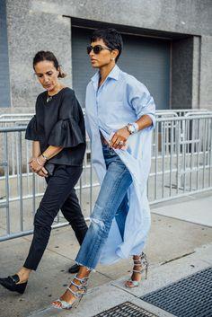 Tommy Ton - Archive Deena Aljuhani Abdulaziz, Editor in Chief of Vogue Arabia in Bouguessa Oversized Shirt Dress.