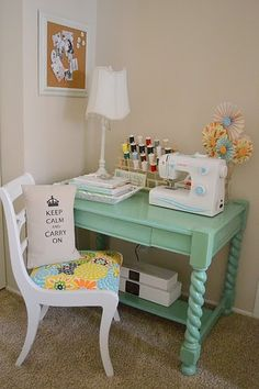 Painted sewing table for my machines thislittledaisy......