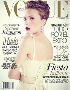 Actress Scarlett Johansson graces the December 2013 edition of Vogue Mexico, looking seductive in a white corset from Dolce & Gabbana.