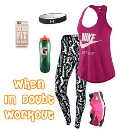 """""""I workout"""" by hjpnosser ❤ liked on Polyvore featuring NIKE, Casetify and Under Armour"""