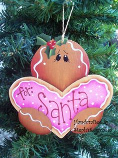 Handpainted ChristmasGinger Cookie Ornament by stephskeepsakes Christmas Wood Crafts, Christmas Ornaments To Make, Christmas Gingerbread, Christmas Art, Handmade Christmas, Gingerbread Men, Gingerbread Decorations, Christmas Decorations, Country Wood Crafts
