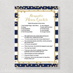 Movie Love Quote, Romantic Movie Quotes Game in Navy and Gold, Confetti Printable Bridal Shower Game - SKUHDG21 by hellodreamstudio on Etsy