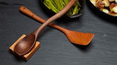 Curvy Wooden Spoon, Spatula, and Spoon Rest.