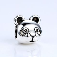 Authentic Silver Plated Cute Panda Pattern Animal European Charms Beads Fit Pandora Bracelets DIY Jewelry Accessories A5291